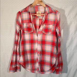 Hollister Button Down Red & Blue Plaid shirt
